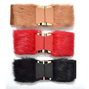 lady faux fur belt elastic corset stretch retro waistband