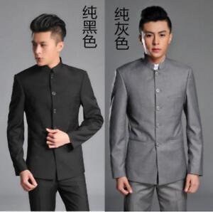 ab40ad00b Image is loading Mens-Chinese-Traditional-Coat-Mandarin-Banded-Collar-Single -