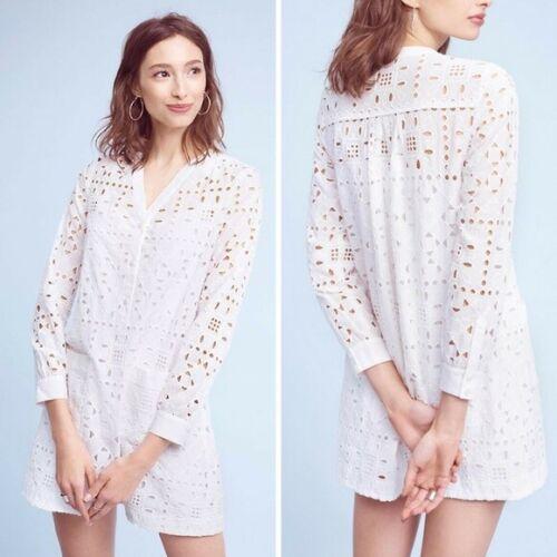 Anthropologie Women's Maeve Geo Eyelet Shirt Dress