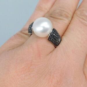 Wert 3830 € schwarzer Diamant Perle Ring (1,11 Ct) 750er ...