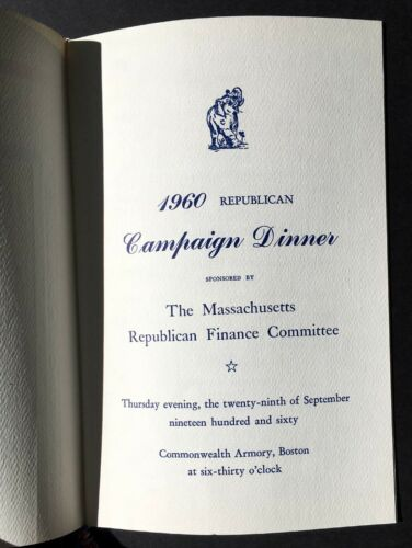 Eisenhower Boston 1960 Richard Nixon Program Republican Campiagn Dinner Menu