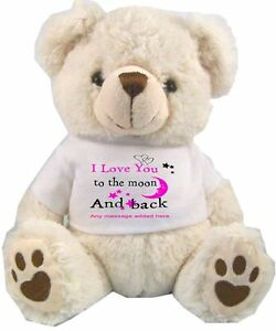 Personalised white teddy bear love you to the moon and back image is loading personalised white teddy bear love you to the voltagebd Gallery