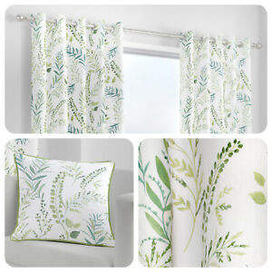 Fusion-FERNWORTHY-Green-100-Cotton-Eyelet-Curtains-amp-Cushions