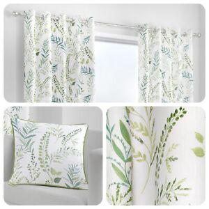 Fusion-FERNWORTHY-Green-100-Cotton-Eyelet-Curtains-amp-Cushions
