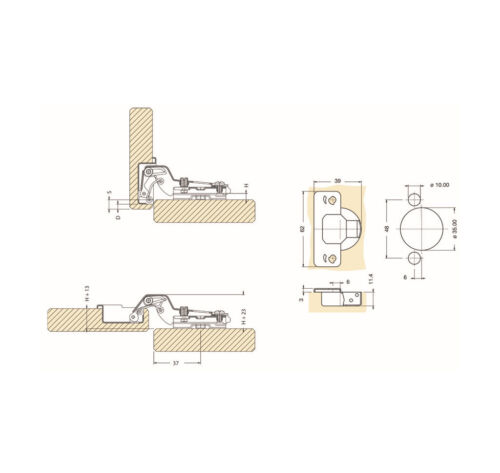 10x Tip On Push Scharnier Topfband Topfbänder Scharniere Mittelanschlag DANCO