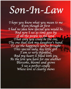 Image Is Loading Personalised Son In Law Poem Birthday Christmas Christening