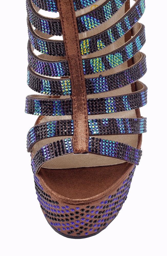 Braun EU cage stiletto high heels, EU Braun Größe 37, Braun High Heels, Cage Heels, dec693