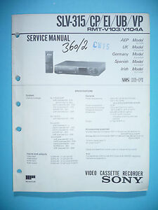 Radient Service Manual-anleitung Für Sony Slv-315 Tv, Video & Audio original