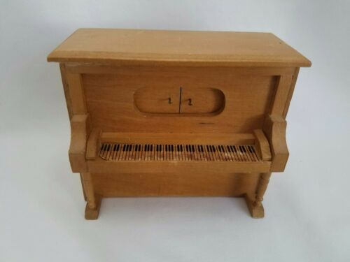 Vintage Dollhouse Miniature Wooden Player Piano Music Box WORKS