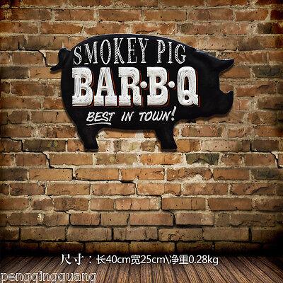 Bar Bq Bbq Metal Tin Signs Smokey Pig Retro Handmade Poster Home Wall Decor Ebay