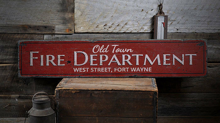 Old Town Fire Dept Sign, Fire Department Sign -Distressed Wooden Sign ENS1001975