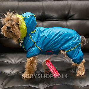 Small dog clothes: New Fashion pet rain coat, Blue or Green