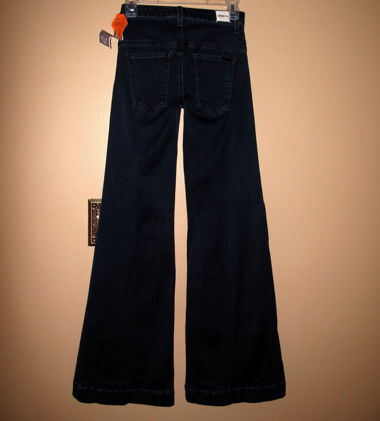 Hudson Jambe grand Évasé Britannique Taille Haute Super-Stretch Foncé Jeans 24
