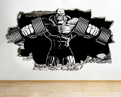 wall stickers bodybuilder gym exercise cool smashed decal