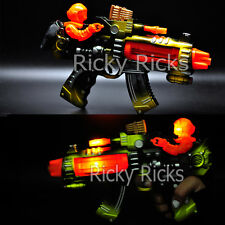 Light Up Machine Gun Military Toy Army Rifle Kids Moving Barrel LED Tommy Pistol