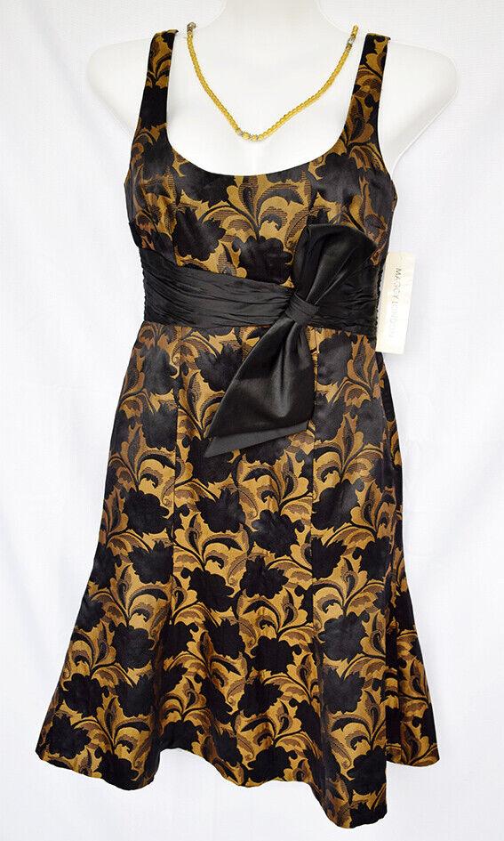 Maggy London Damen Ärmellos Bronze & Schwarz Größe 6 Cocktailkleid, Nwt
