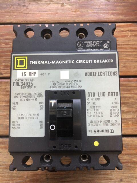 SQUARE D 15A FAL34015 THERMAL-MAGNETIC CIRCUIT BREAKER