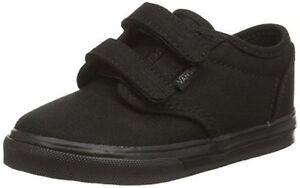 26b064e3db Vans Kids Black Shoes Infants Childs Canvas All Black Authentic ...