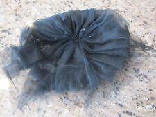 ANTIQUE/VINTAGE BLACK PEGGY LADIES CHURCH HAT TULLE MESH NET