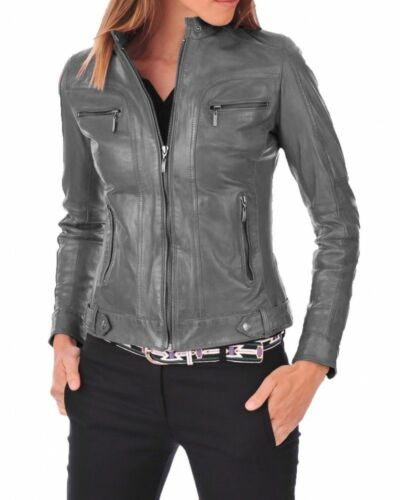 Women/'s Real  Leather Jacket  Motorcycle Biker Genuine Leather Slim fit X73