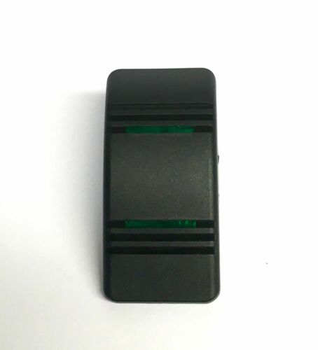 Euro Rocker Black Switch Cover with 2 Green Lenses Fits Carling Technologies...