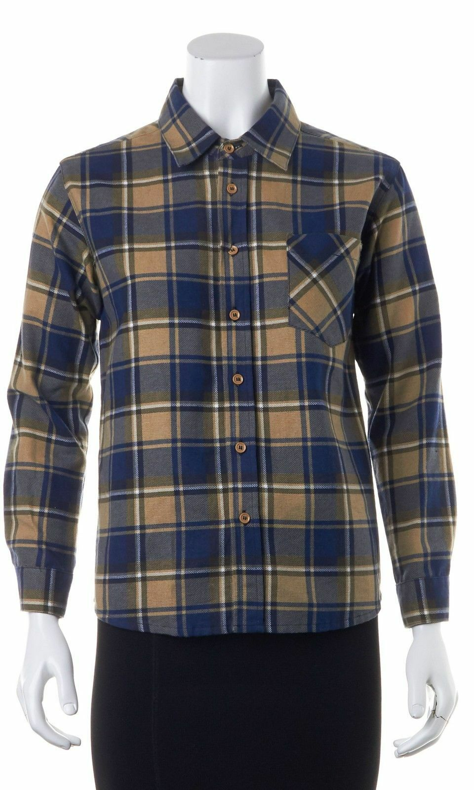 NWT See by CHLOE plaid shirt, blouse,top; 100% cotton, Navy Tan Größe 6, S