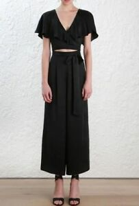 c36b3bfae5 Image is loading Zimmermann-wrap-jumpsuit-Black-Sueded-Silk-Flutter-Sleeve-