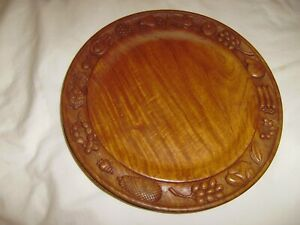 8-WOODEN-Carved-Fruit-and-Vegetable-10-3-4-Inch-Dinner-Plates