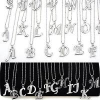 Mode Silber Kristall Strass A-Z Brief Charm Initial Alphabet Anhänger Halskette