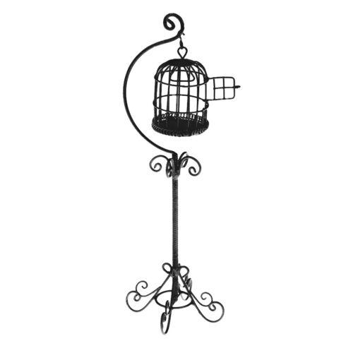 1:12 Puppenhaus Miniatur Black Metal Vogelkäfig mit Halter Stand Dekor