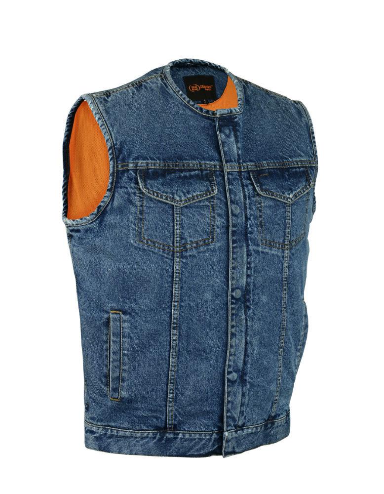 Herren Motorcycle Blau Denim Vest With Concealed Snaps And Hidden Zipper