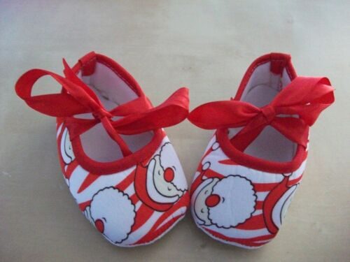 BABY GIRLS FATHER CHRISTMAS//SANTA SHOES 0-6 months /& 6-12 months