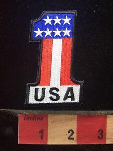 "VINTAGE LOOK USA/"" #1 Iron On Patch Pride Biker Patriotic Military American Flag"