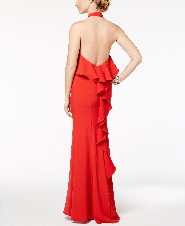 XSCAPE Crepe Popover Halter Gown SZ 4