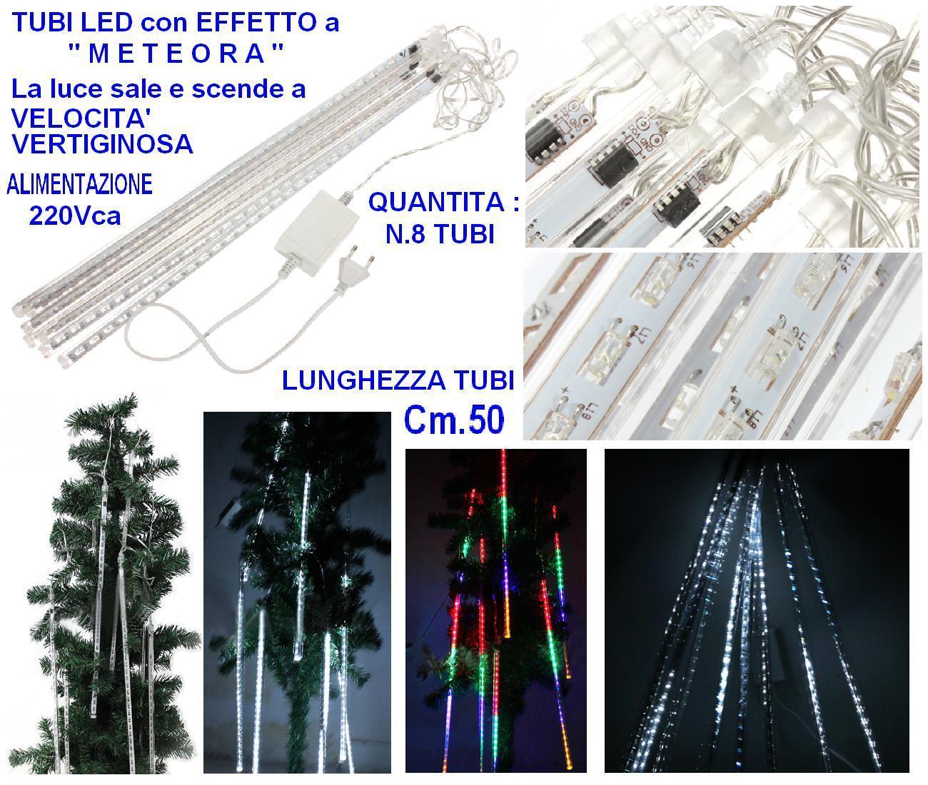 TENDA PROLUNGABILE Cm.210Lx50H  N.8 TUBI LED MULTICOLOR EFFETTO METEORA NATALE