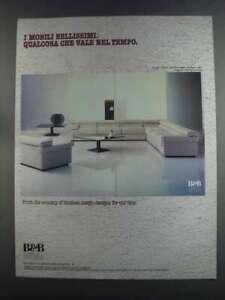 1982 B&B Italia Ad - Erasmo Sofa, Armchair & Table