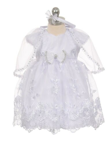 Baby Flower Girls White Dress Christening Baptism Wedding Easter Rhinestones 14