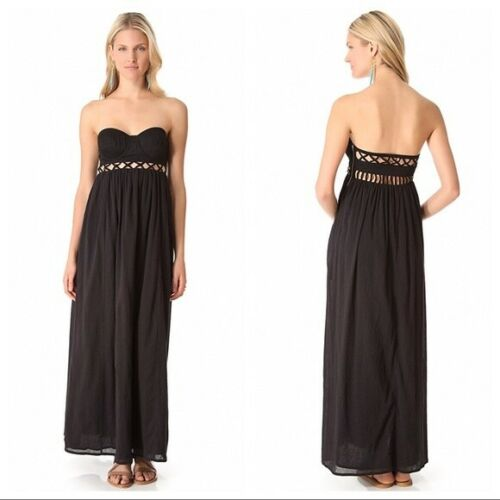 Mara Hoffman Black Frida Lattice Swim Coverup Maxi
