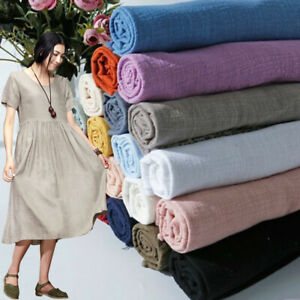 Solid-Plain-Cotton-Linen-Fabric-Upholstery-Sewing-Cloth-Crafts-Curtain-Material