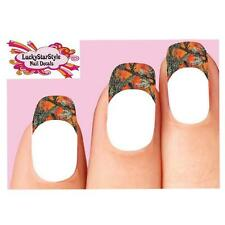 Waterslide Tips Nail Decals Set of 10 - Orange Mossy Oak Camo Camouflage