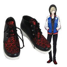 Anime Yuri!!! on Ice Plisetsky Yuri Cosplay Shoes Leopard Print Lace up Sneakers
