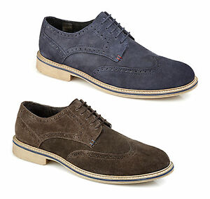 4d4deeafae3 Roamers Mens Suede Leather 5 Eye Lace Up Brogue Comfy Smart Casual ...