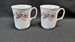 Royal-Albert-England-Bone-China-Lavender-Rose-Pair-of-Bristol-Shape-Mugs