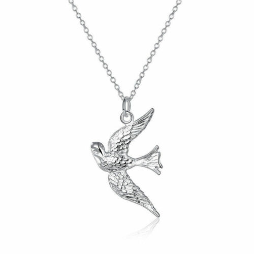 NEW 925 Silver Plated Swallow Bird Chain Pendant Necklace Fashion Jewelry Gift