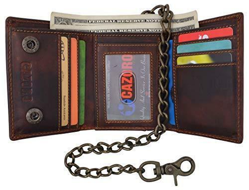 Brown RFID Blocking Vintage Genuine Leather Men's Biker Chain Trifold Wallet