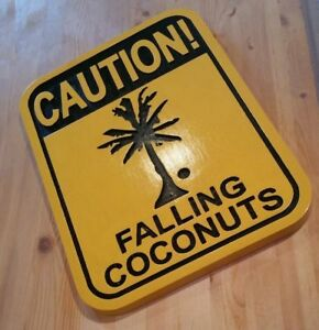 Caution-Falling-Coconuts-3D-routed-carved-Tiki-Bar-Sign-beach-plaque-Carved
