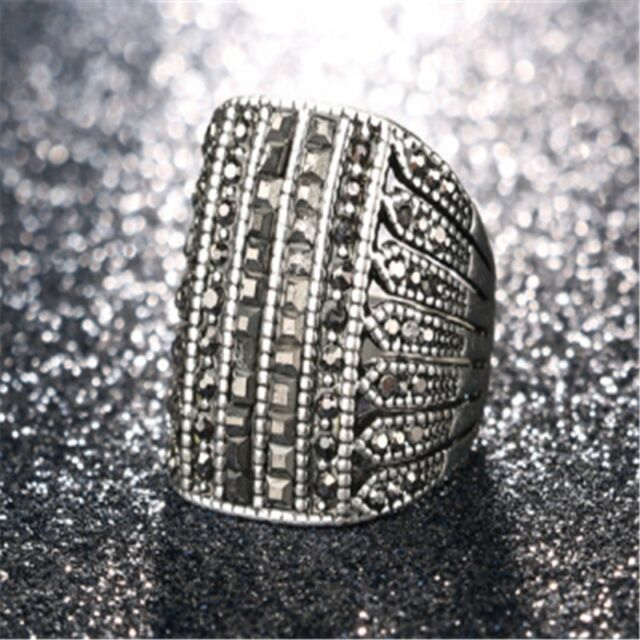 Fashion Punk Silver Inlaid Crystal Luxury Men's Personalized Ring 7#-11#
