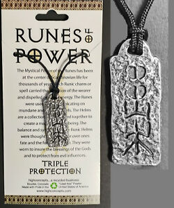 NORSE-VIKING-RUNE-OF-POWER-034-TRIPLE-PROTECTION-034-WICCA-AMULET-Pendant