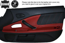 Negro Perforado Rojo Oscuro Cuero 2x Puerta Tarjeta Moldura Tapa se ajusta Honda S2000 04-09