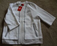 Nike Women's White L-T Half-Sleeve Jacket NWT Made In Vietnam 70%Cotton/30%Poly